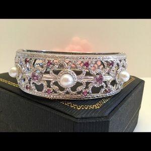 """Jewelry - 🌸LARGE 8""""STERLING BRACELET w/PEARLS+GEMS🌸"""
